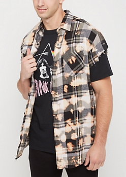 Brown Bleached Plaid Cutoff Sleeve Shirt