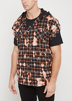 Black Bleached Plaid Hooded Cutoff Shirt