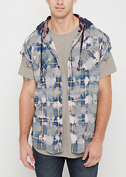 Blue Bleached Plaid Hooded Cutoff Shirt