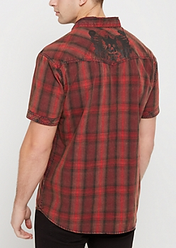 Red Plaid Poplin Short Sleeve Shirt