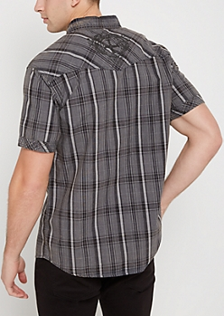 Black Plaid Poplin Short Sleeve Shirt