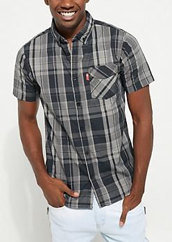 Black Short Sleeve Plaid Button Down Shirt