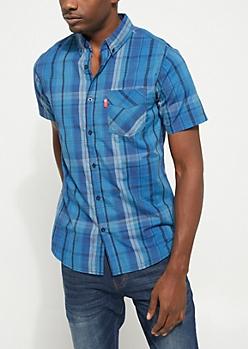 Navy Short Sleeve Plaid Button Down Shirt