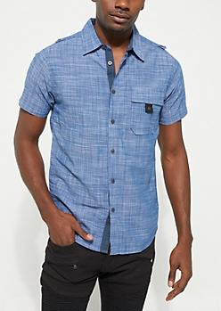 Navy Buttoned Short Sleeve Shirt