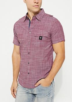 Red Buttoned Short Sleeve Shirt