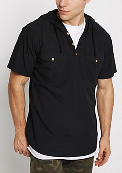 Black Hooded Popover Shirt