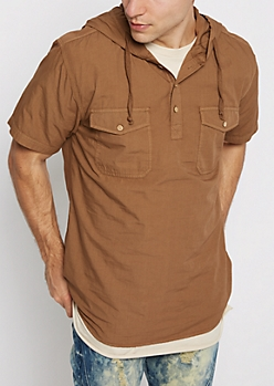Khaki Hooded Popover Shirt
