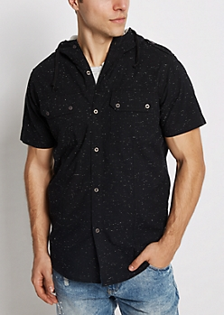Black Marled Hooded Button Down