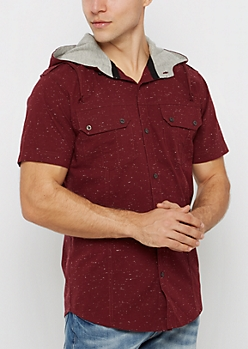 Burgundy Marled Hooded Button Down