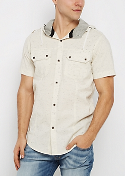 Sand Marled Hooded Button Down