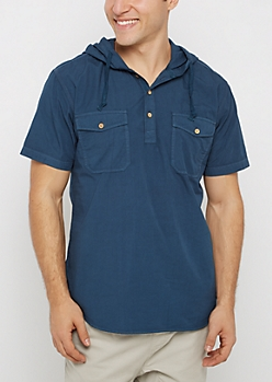Navy Hooded Popover Shirt
