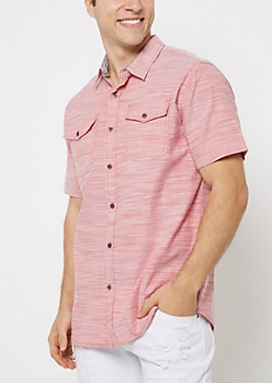 Salmon Slub Knit Short Sleeve Shirt