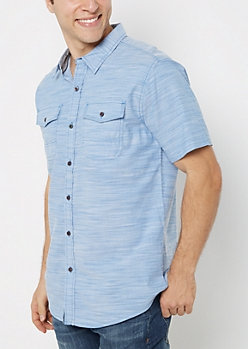 Blue Slub Knit Short Sleeve Shirt