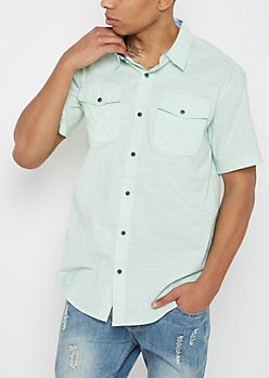 Mint Slub Knit Short Sleeve Shirt