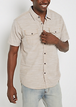 Taupe Slub Knit Short Sleeve Shirt
