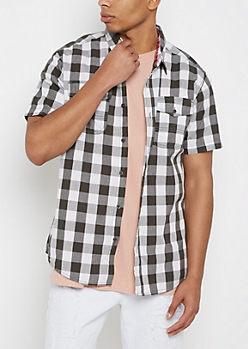 Black Buffalo Plaid Short Sleeve Shirt