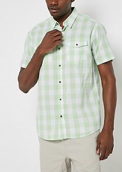 Green Buffalo Plaid Short Sleeve Shirt