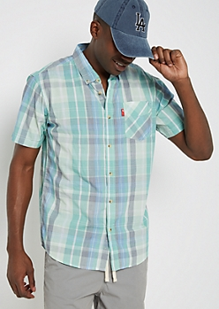 Green Plaid Short Sleeve Shirt