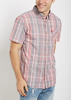 Faded Red Plaid Short Sleeve Shirt