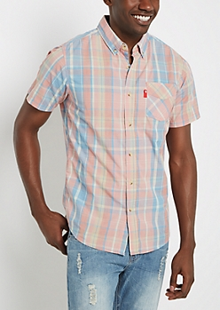 Salmon & Blue Plaid Short Sleeve Shirt