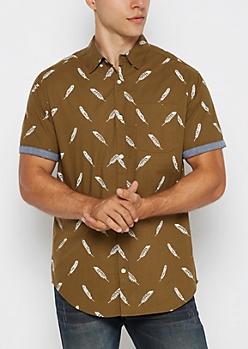 Olive Feather Short Sleeve Shirt