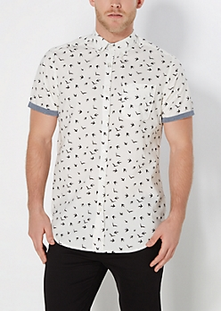 Bird Silhouette Long Length Button Down
