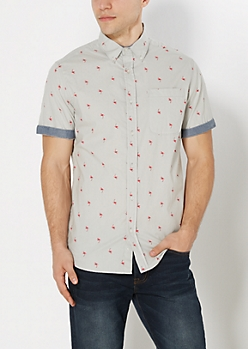 Tossed Flamingo Button Down