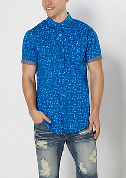 Micro Tribal Longline Short Sleeve Shirt