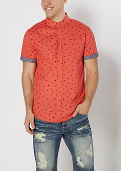 Coral Tossed Anchor Button Down