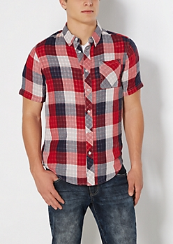 Red Buffalo Plaid Gauze Button Down