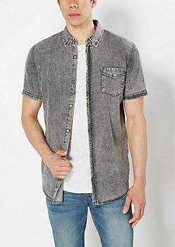 Longer Length Black Wash Long Length Shirt