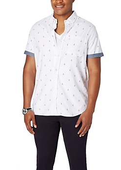 White Mini Anchor Short Sleeve Button Down