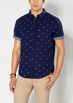 Navy Mini Anchor Short Sleeve Button Down