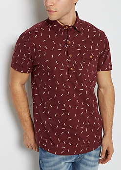 Lightning Bolt Short Sleeve Popover Shirt