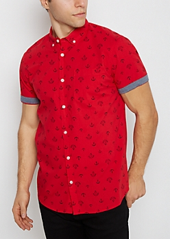 Red Anchor Short Sleeve Popover Shirt