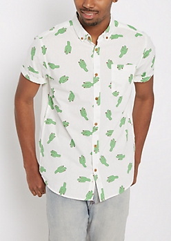 Cartoon Cactus Short Sleeve Button Down