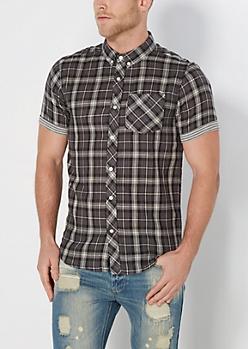 Black Plaid Stripe Lined Short Sleeve Shirt