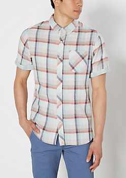 Mint Plaid Stripe Lined Short Sleeve Shirt
