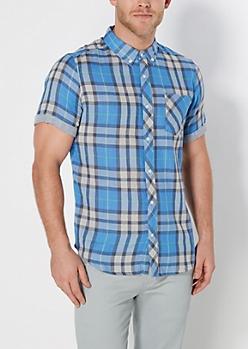 Blue Plaid Stripe Lined Short Sleeve Shirt