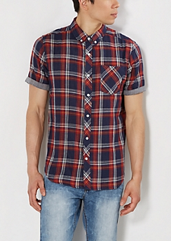 Navy Plaid Chambray Lined Short Sleeve Shirt