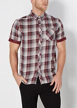 Red Plaid Stripe Lined Short Sleeve Shirt