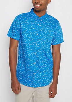 Blue Reversed Retro Button Down