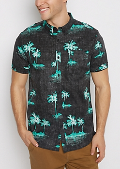 Faded Palm Tree Short Sleeve Shirt