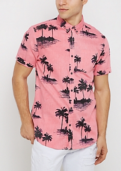 Pink Faded Palm Tree Short Sleeve Shirt