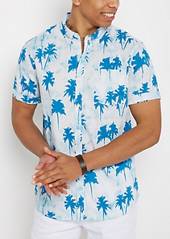 Blue Palm Tree Short Sleeve Button Down