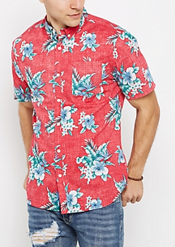 Faded Hibiscus Short Sleeve Button Down