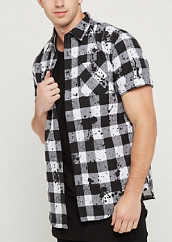 Black Buffalo Check Paint Splattered Button Down
