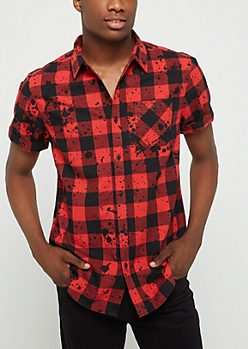 Red Buffalo Check Paint Splattered Button Down
