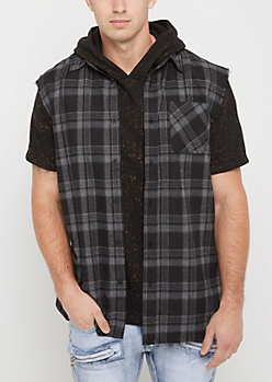 Gray Plaid Cutoff Sleeve Shirt