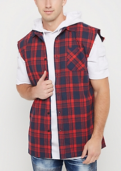Red Plaid Cutoff Sleeve Shirt